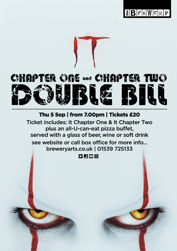 Join us for a SPECIAL DOUBLE BILL EVENING of It Chapter One & It Chapter Two plus enjoy an ALL-U-CAN-EAT PIZZA BUFFET - with a beer or Wine - for just £20!